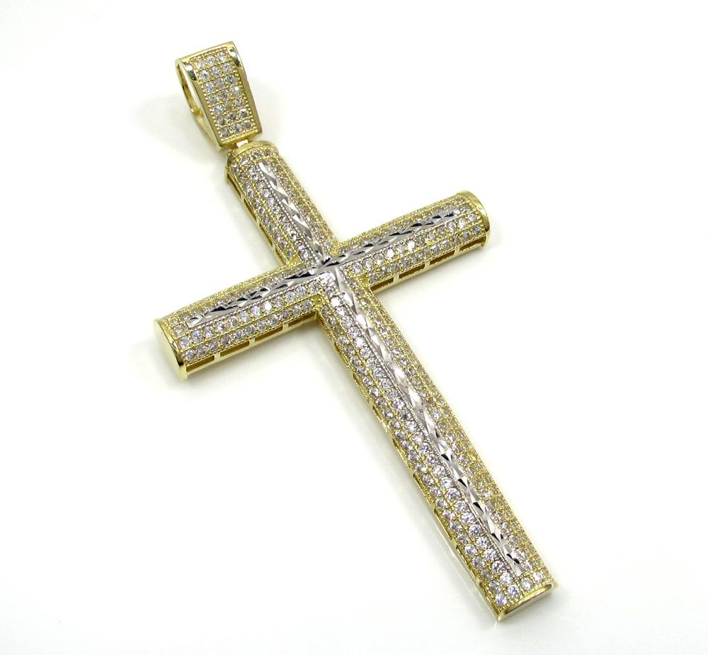 10k yellow gold large two tone cross pendant 1.75ct