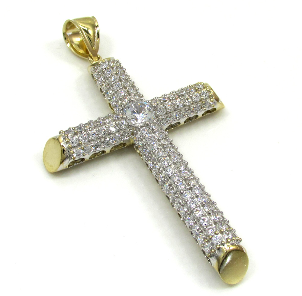 10k yellow gold large two tone tube cross pendant 1.6ct