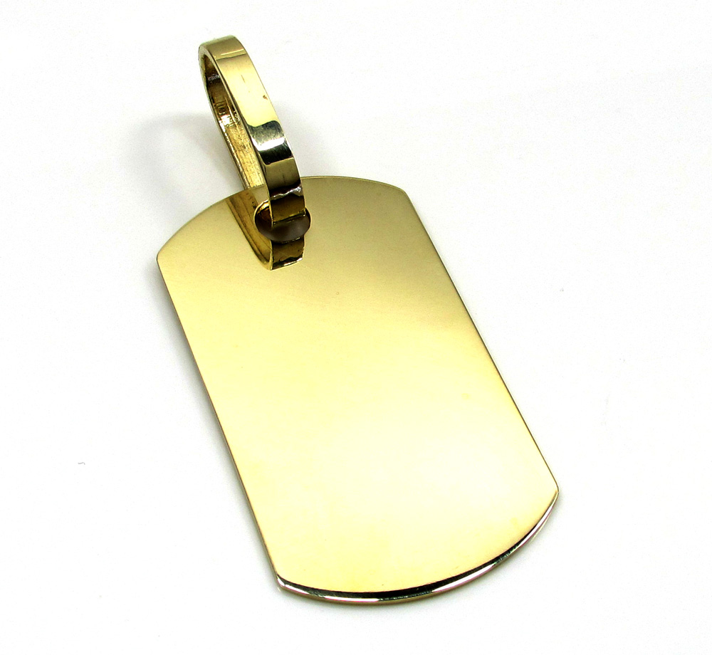 10k yellow gold medium dog tag pendant aloadofball Choice Image