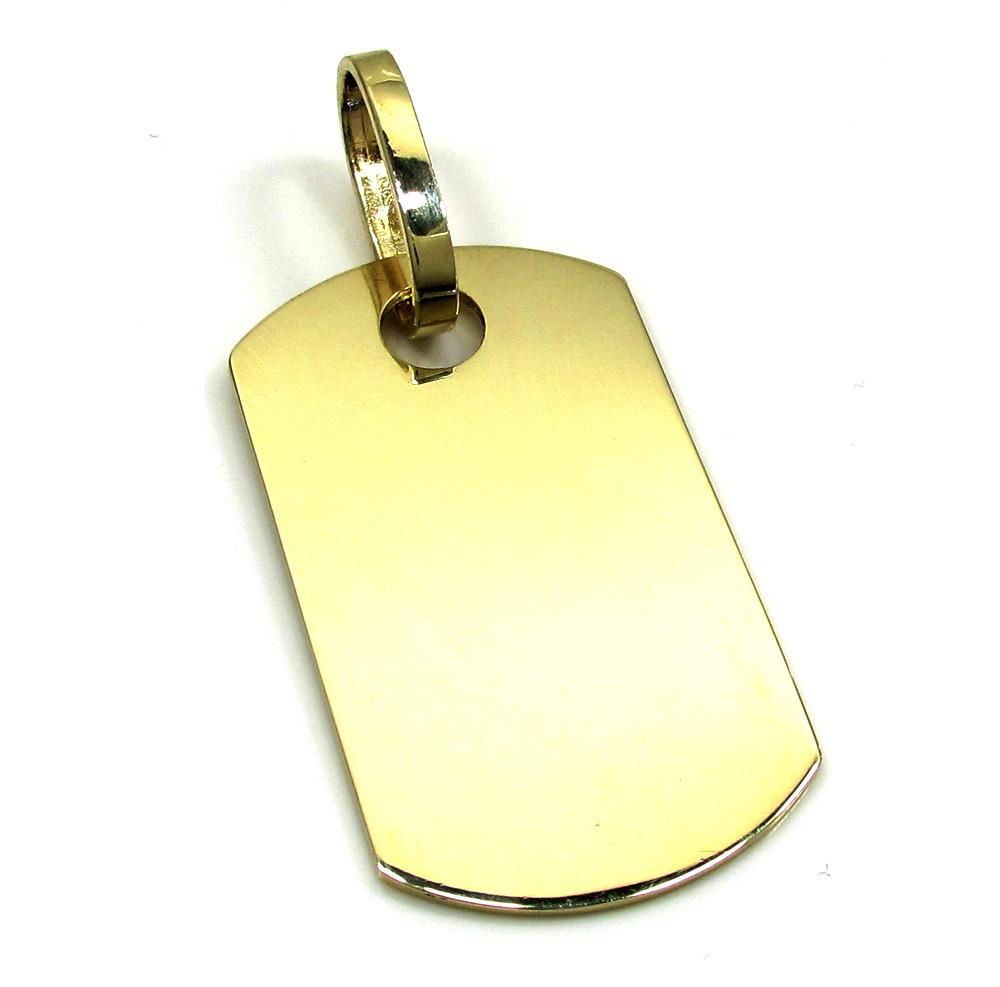 10k yellow gold small dog tag pendant aloadofball Choice Image