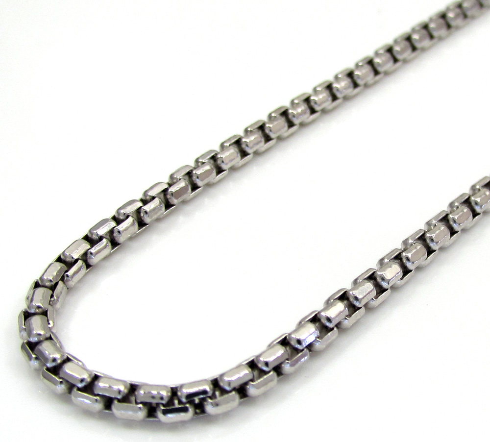 10k White Gold Skinny Box Chain 24-26 Inch 2.3mm