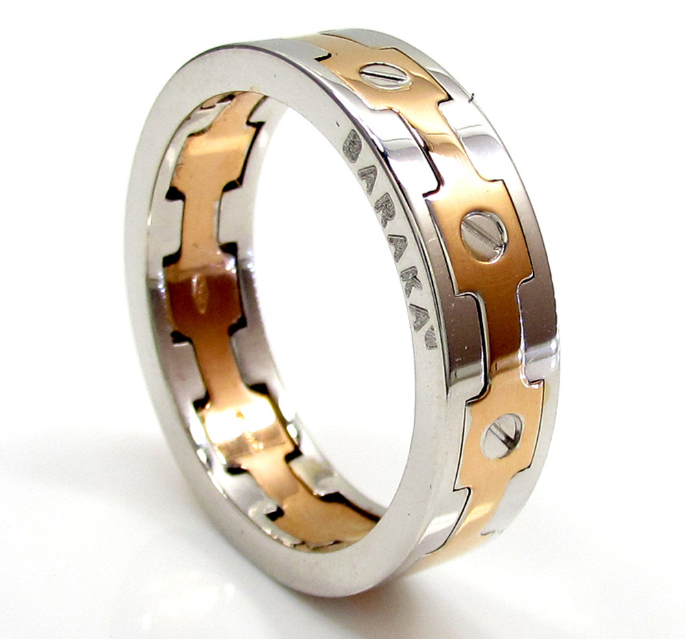 Mens baraka 18k white & rose gold screw ring