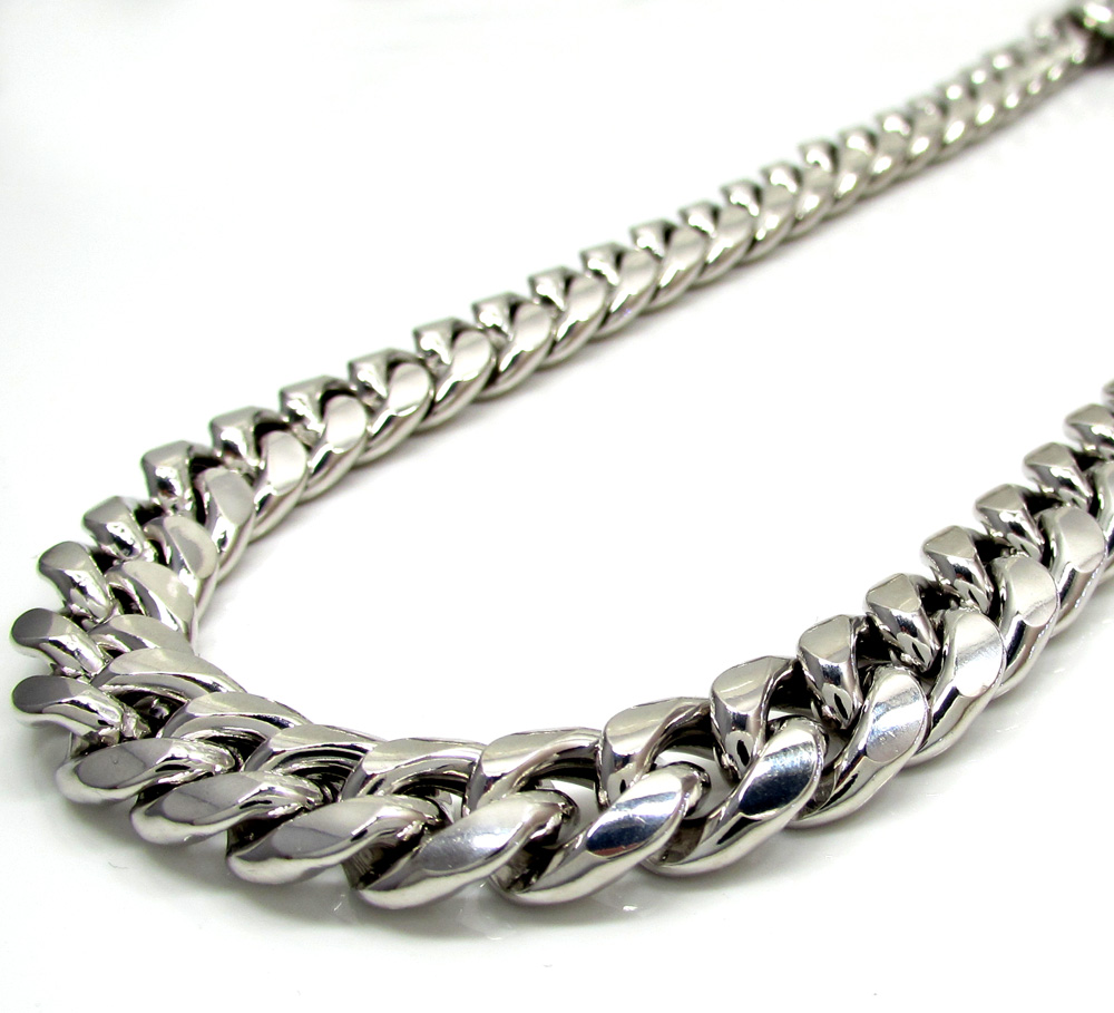 10k white gold thick hollow puffed miami chain 26-30 inch 11mm