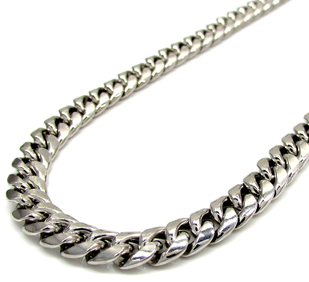 10k white gold hollow puffed miami chain 24-30 inch 6mm
