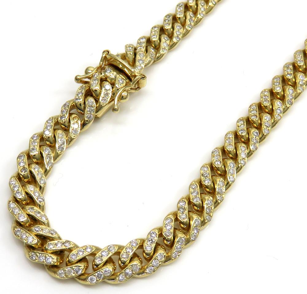 10k Solid Yellow Gold Diamond Miami Chain 26 Inch 6mm 6.40CT
