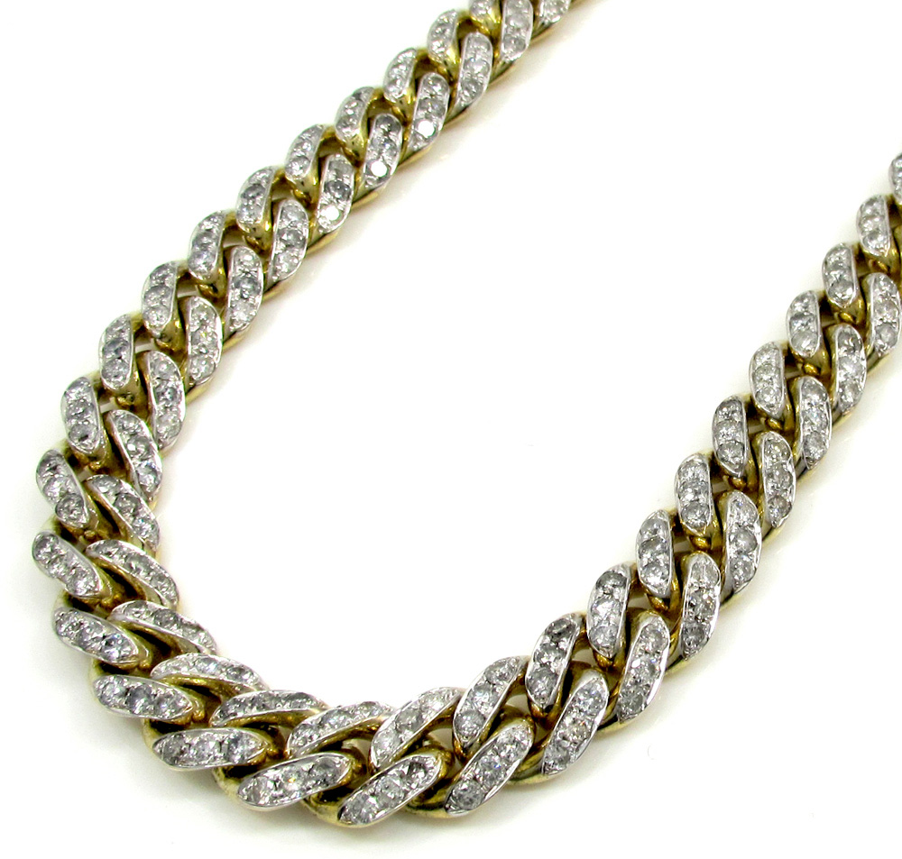 10k solid yellow gold xl diamond miami chain 26 inch 10mm 24.68ct