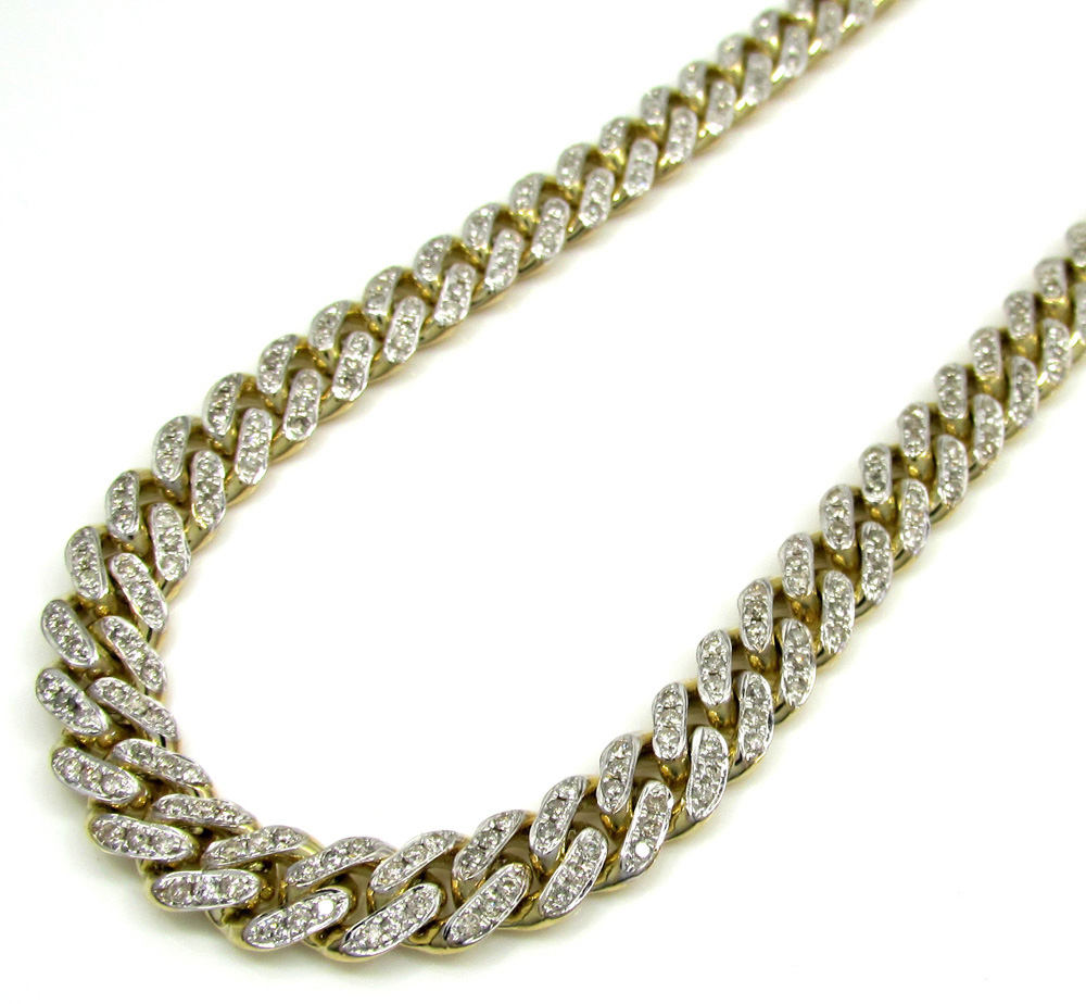 10k Solid Yellow Gold Diamond Miami Chain 20-30 Inch 7mm 7.62CT