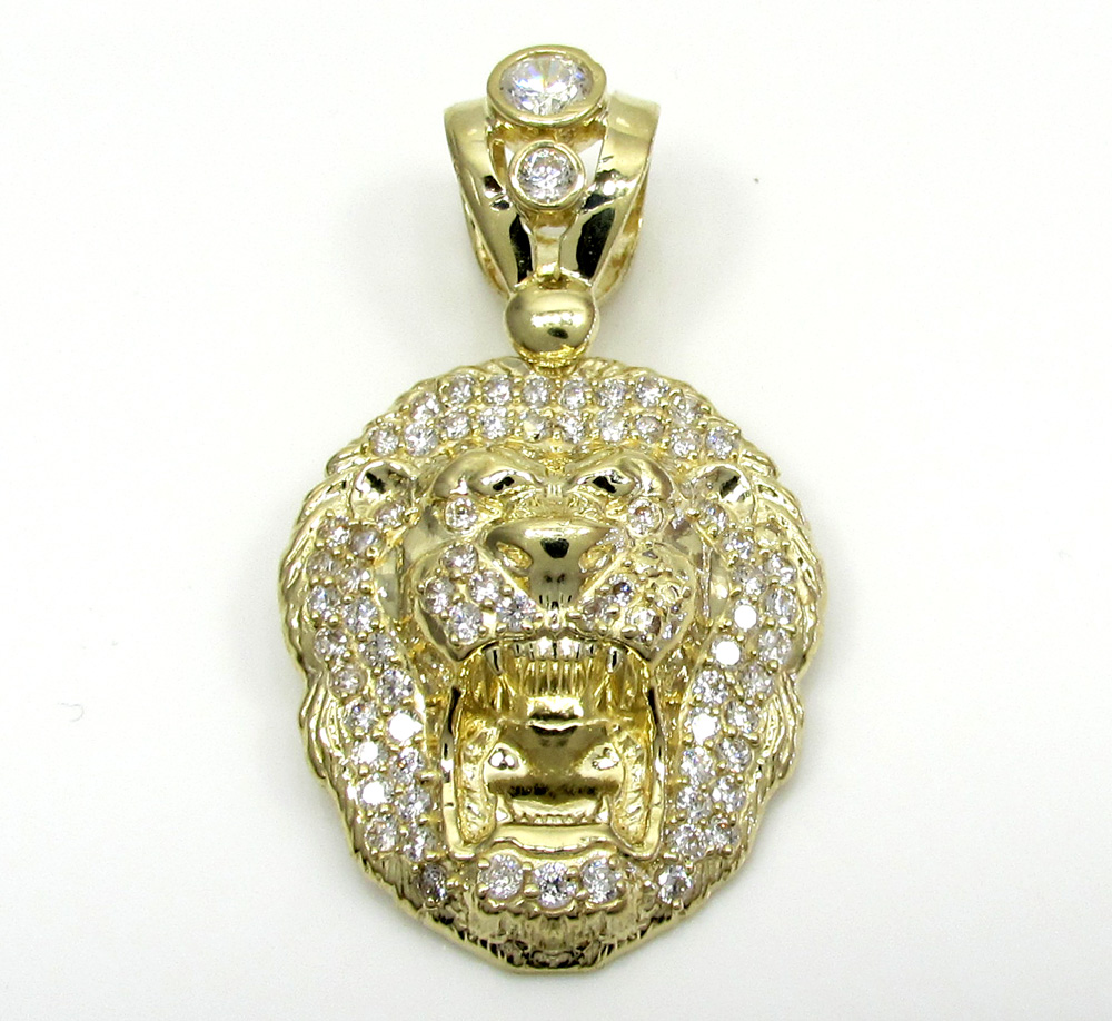 10k yellow gold mini cz lion head pendant 1.00ct