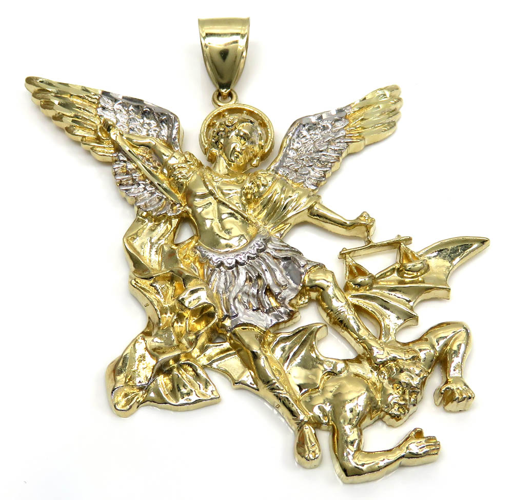 10k yellow gold two tone super xl angel vs demon pendant mozeypictures Choice Image