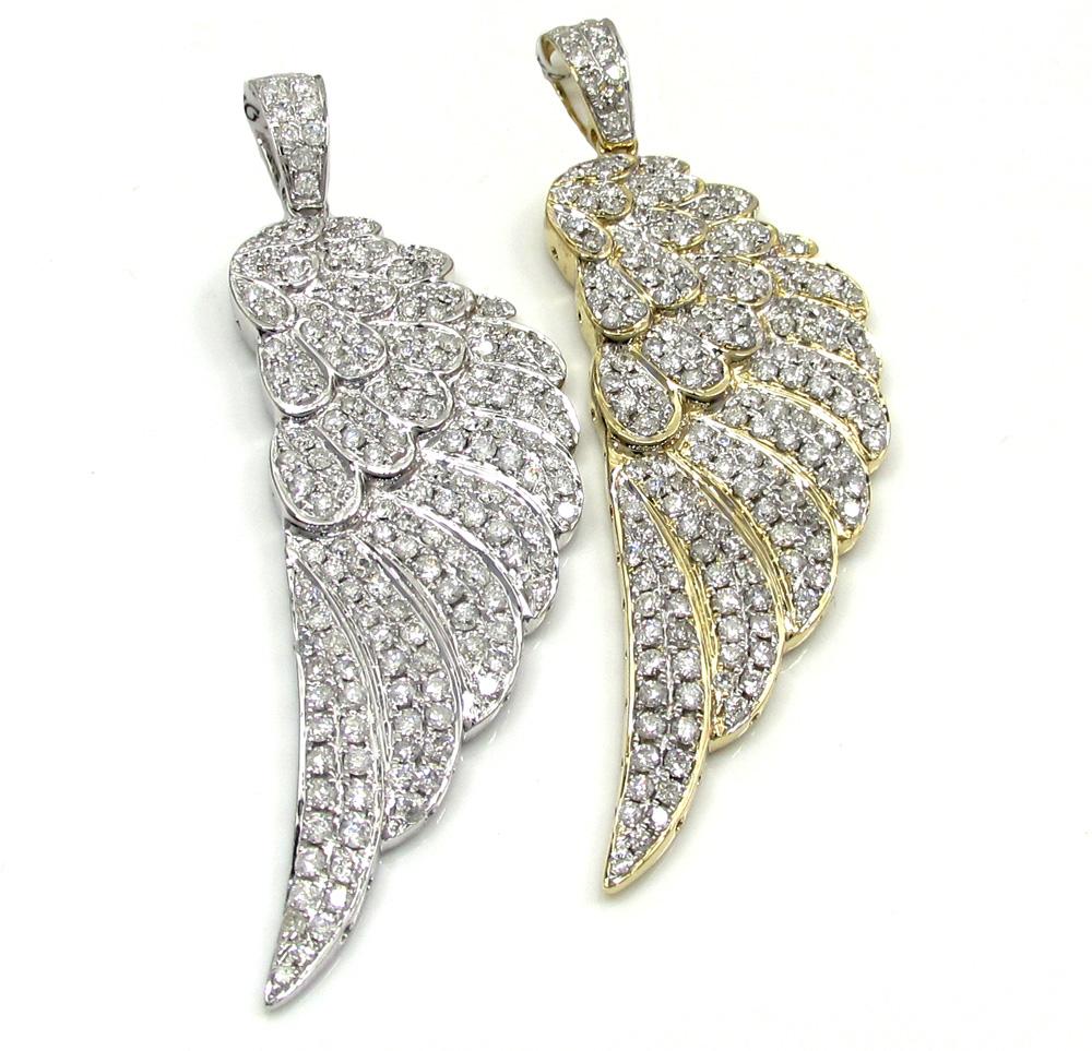 14k unisex gold medium diamond angel wing pendant 2.00ct