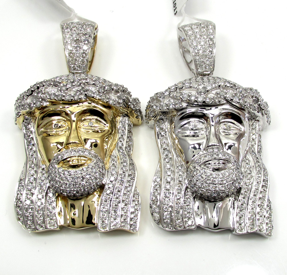14k yellow and white gold diamond jesus piece pendant 525ct aloadofball Image collections