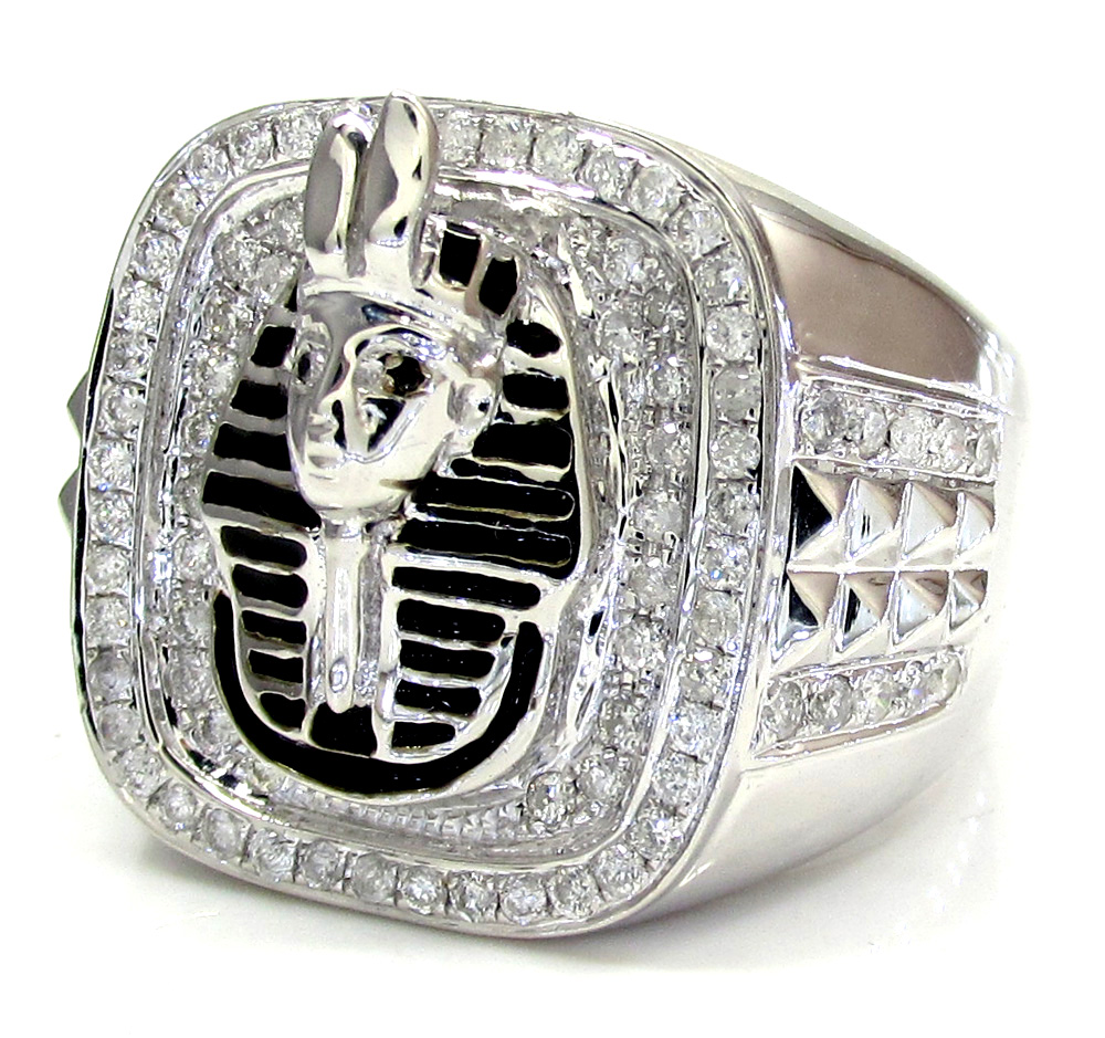 14k white gold diamond pharaoh ring 0.91ct