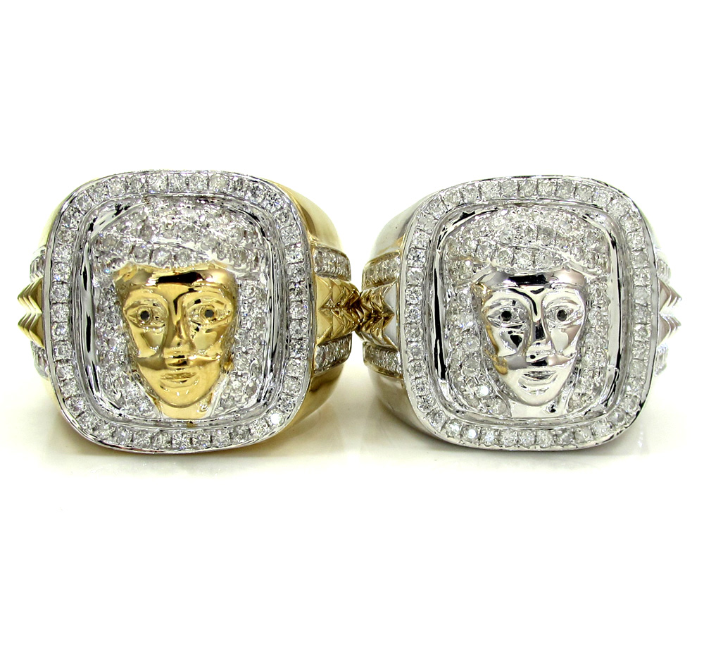 14k Yellow and White Gold Diamond Jesus Face Ring 1.22CT