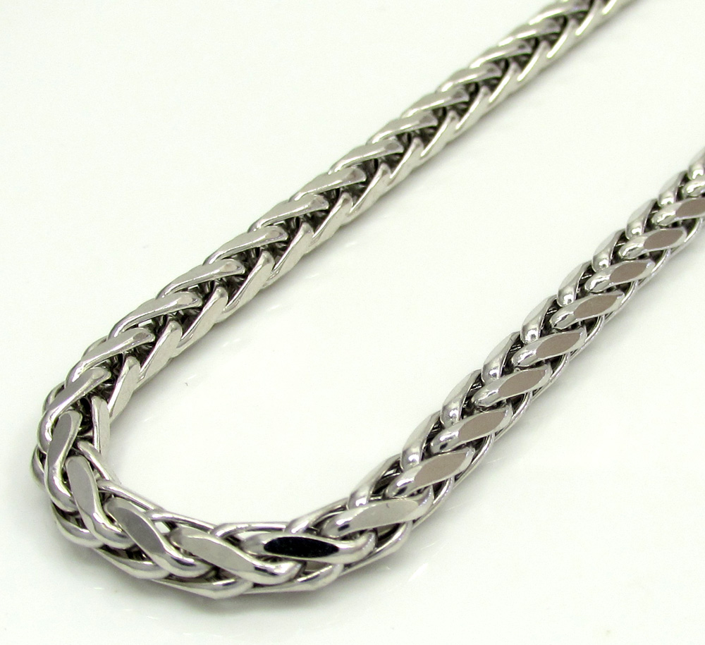 14k white gold medium hollow wheat franco chain 16-30 inch 4mm