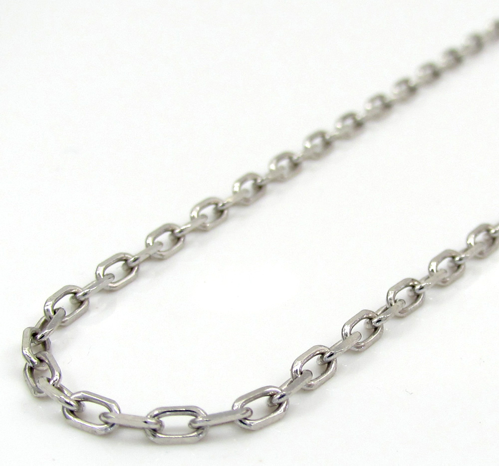 14k white gold super skinny solid elongated cable chain 16-24 inch 2.2mm
