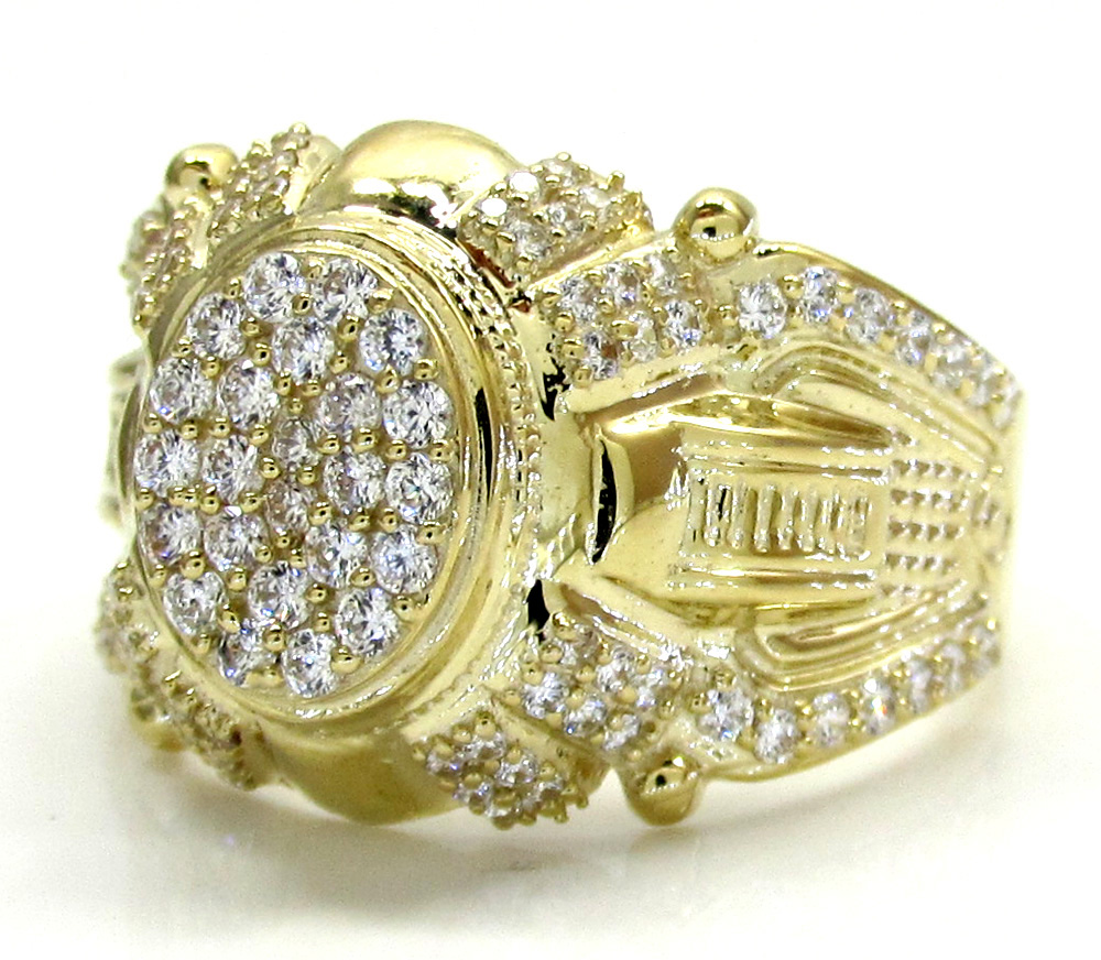 10k yellow gold iced fancy caesar ring 1.00ct