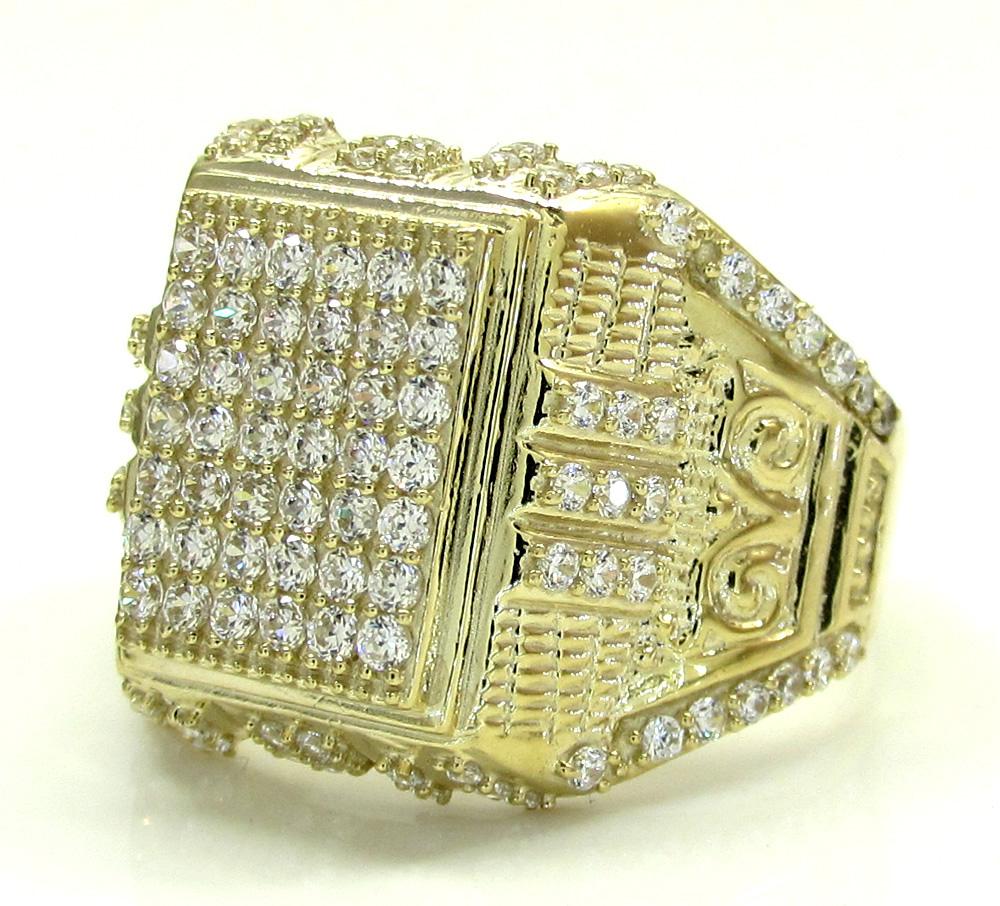 Mens 10k yellow gold cz iced column ring 1.10ct