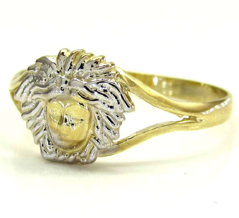 Ladies 10k Yellow Gold Two Tone Medusa Head Ring