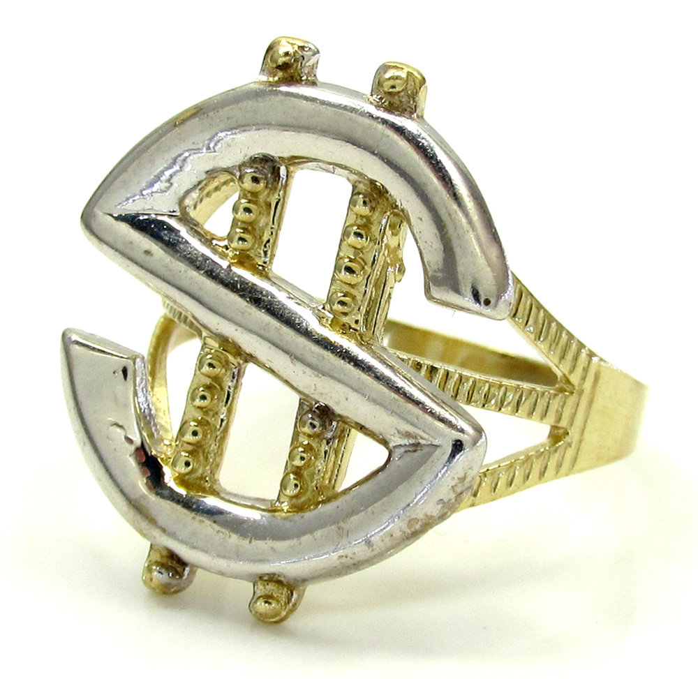 Mens 10k yellow gold two tone dollar sign ring