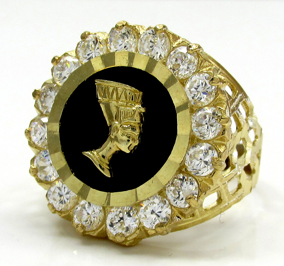 Mens 10k yellow gold nefertiti cz ring .40ct