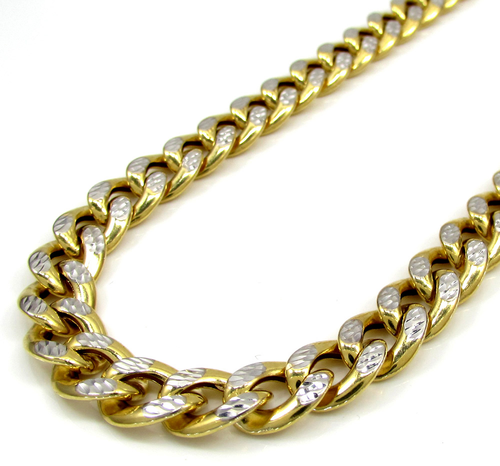 10k yellow gold medium reversible two tone miami chain 20-26 inch 8mm