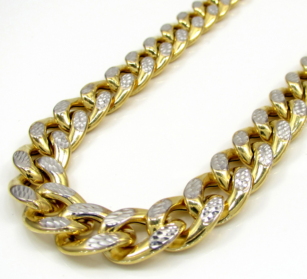 10k yellow gold large reversible two tone miami chain 22-30
