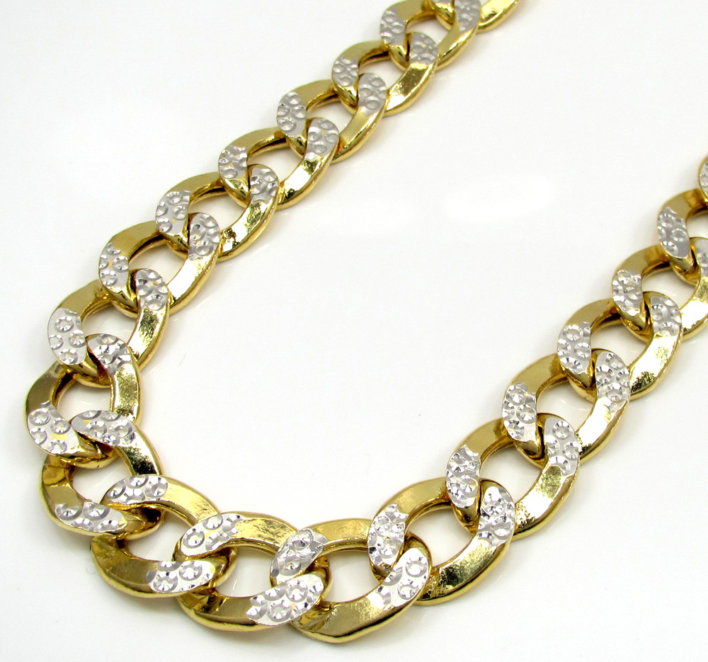 10k yellow gold super thick hollow two tone cuban chain 26-30 inch 10.8mm