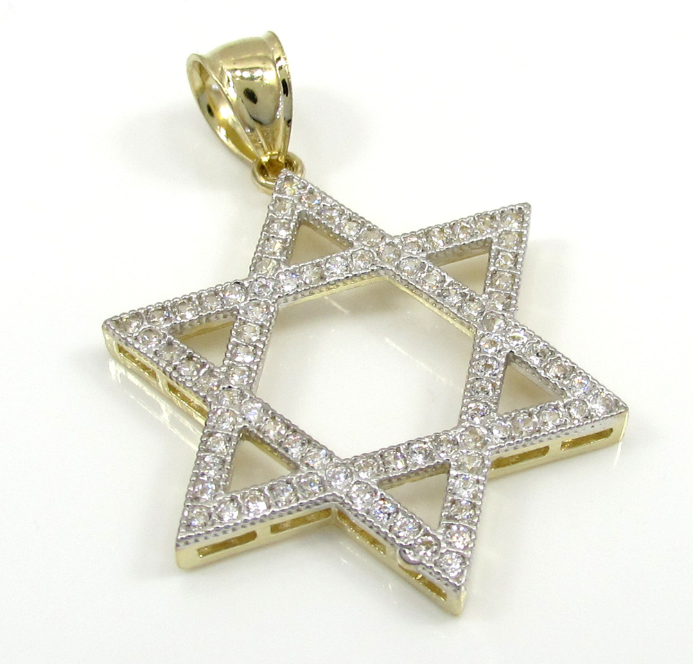 10k yellow gold large iced out cz star of david pendant 075ct aloadofball Images