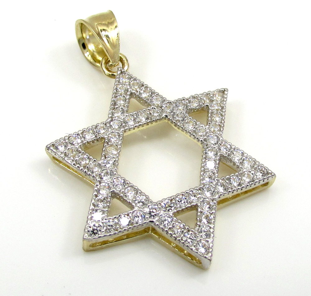 10k Yellow Gold Medium Iced Out CZ Star of David Pendant 0.50CT
