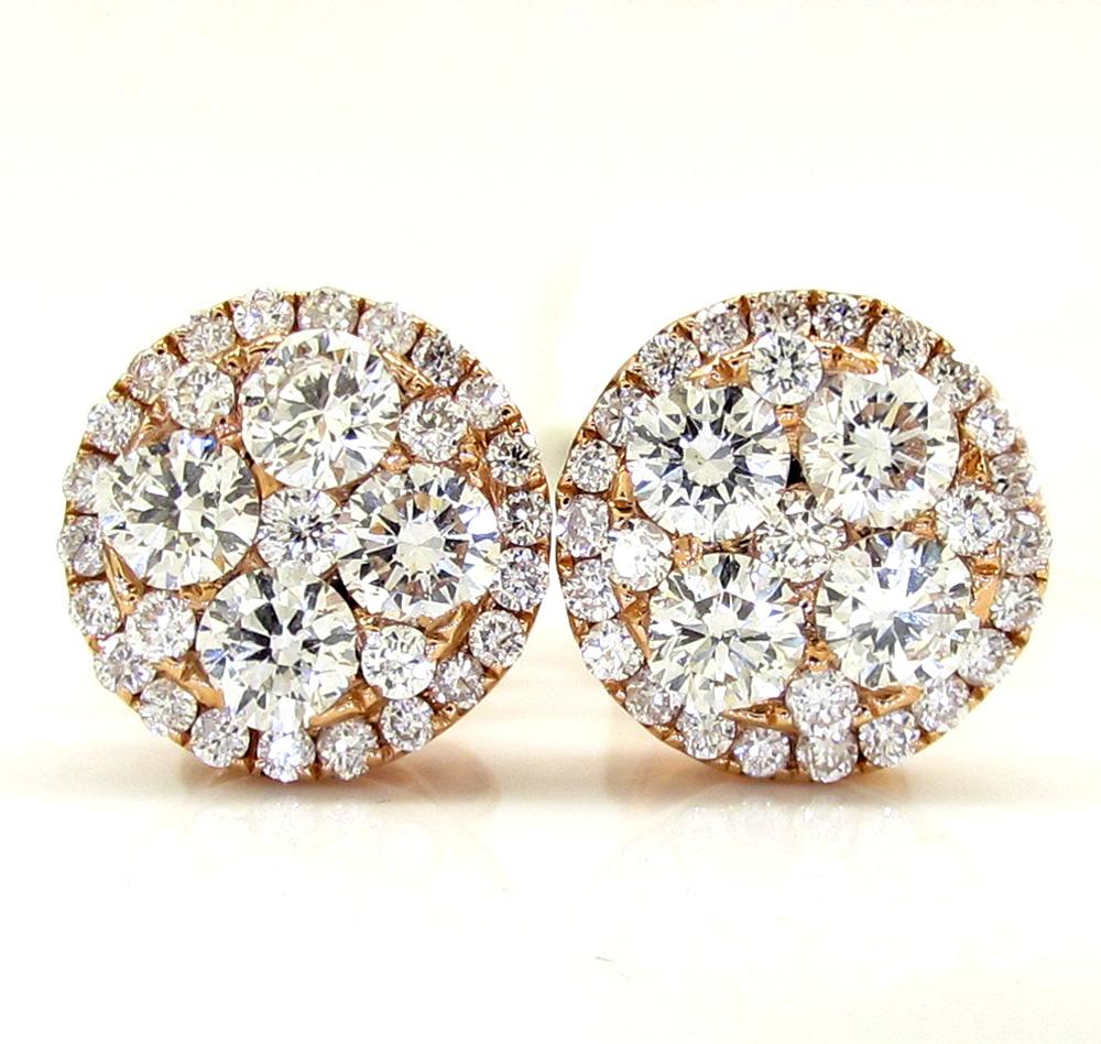 18k rose gold fancy diamond cluster earrings 0.95ct