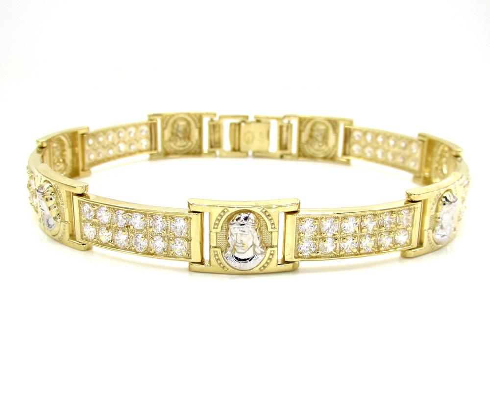 10k yellow gold 2x6 two tone cz jesus face bracelet 3.00ct