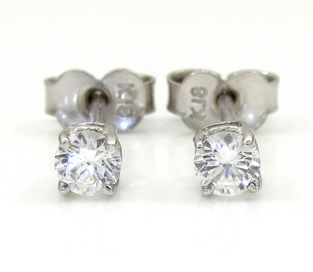Ladies 18k white gold diamond stud earrings 0.32ct