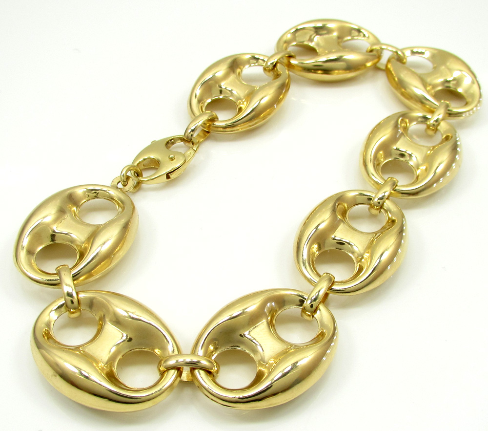10k yellow gold gucci link bracelet 9.50 inch 16.50mm