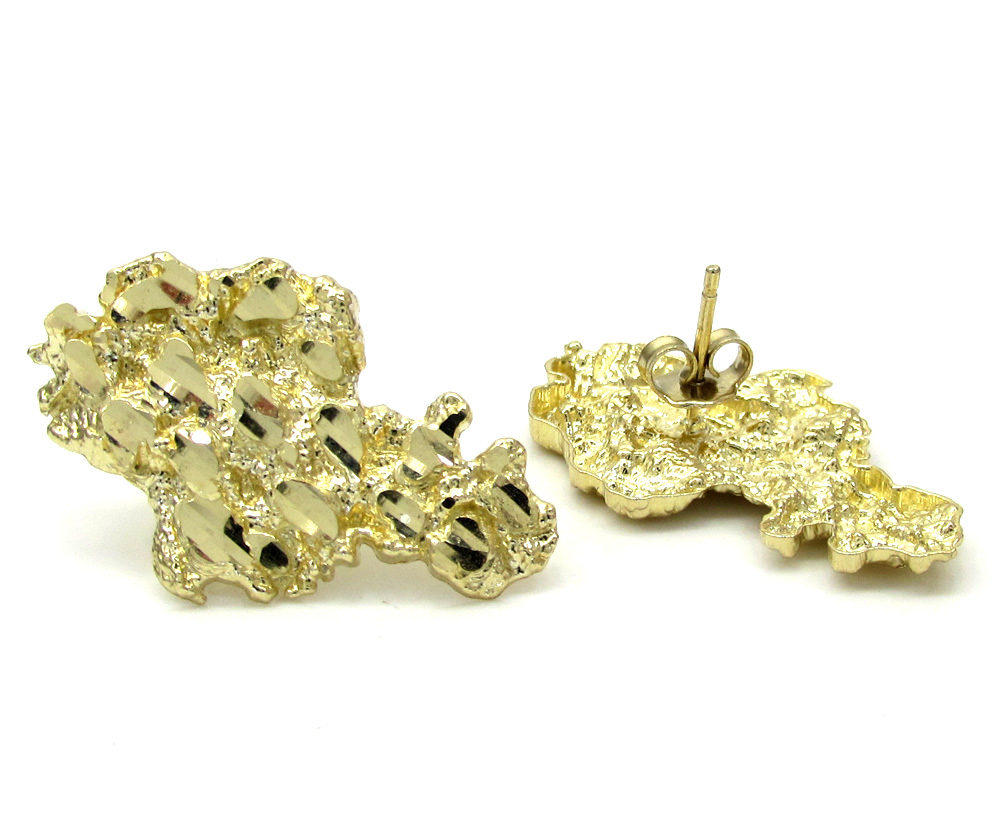 10k yellow gold diamond cut large nugget earrings