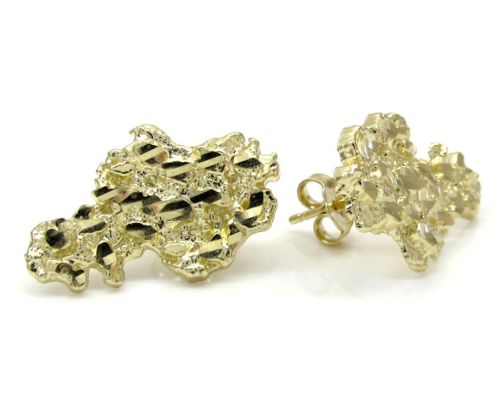 10k yellow gold diamond cut medium nugget earrings