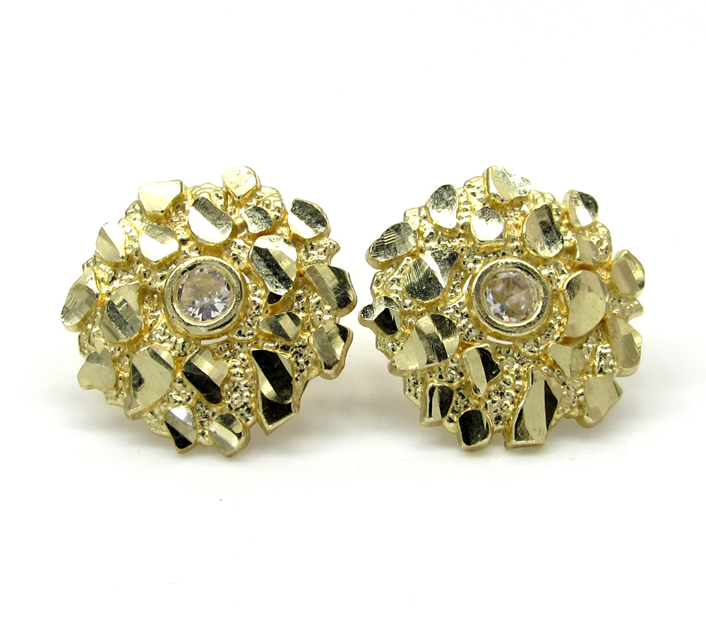 10K Yellow Gold Diamond Cut Round Nugget CZ Earrings 0.04CT