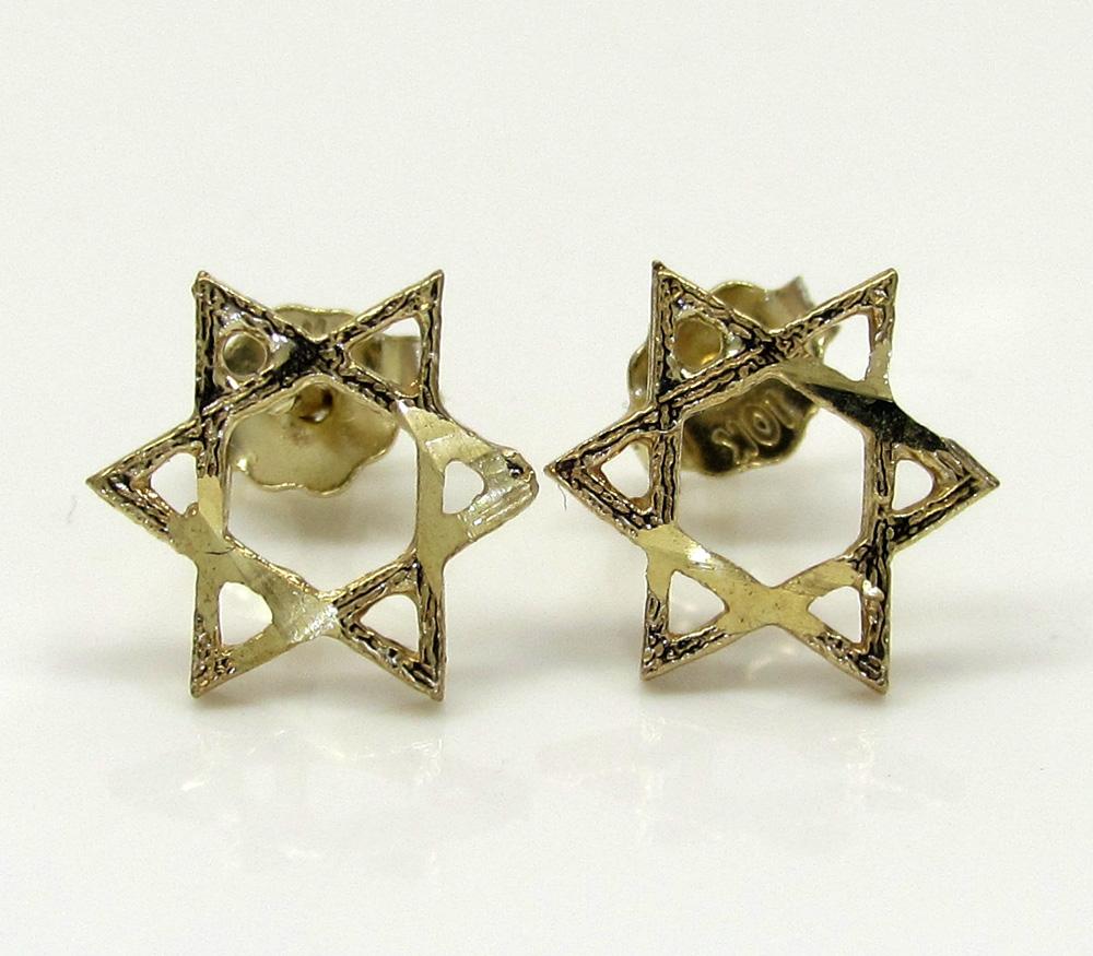 10k yellow gold diamond cut star of david earrings