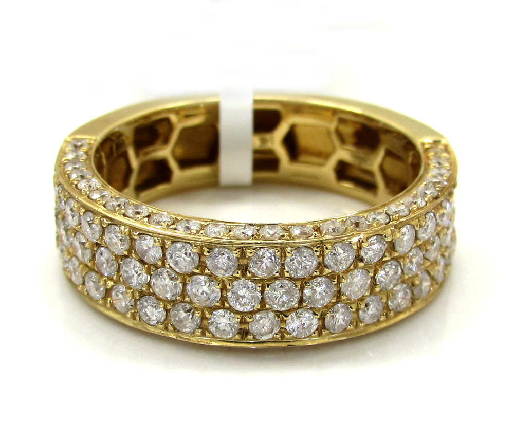 Mens 14K Yellow Gold Half Diamond Iced Out Wedding Band 150CT