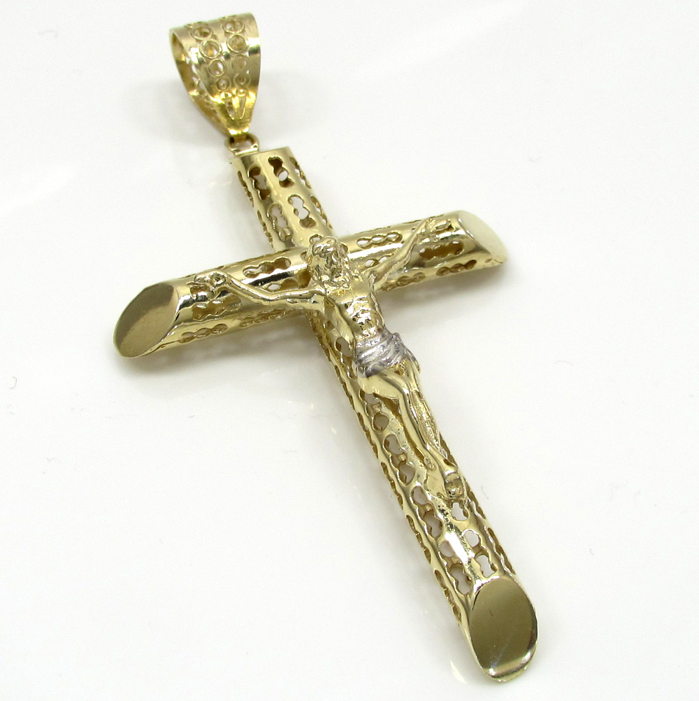 10k yellow gold large carved out hollow tube jesus cross
