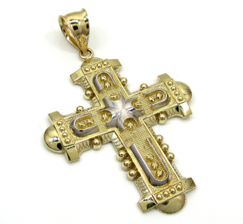 10k yellow gold fancy medieval cross