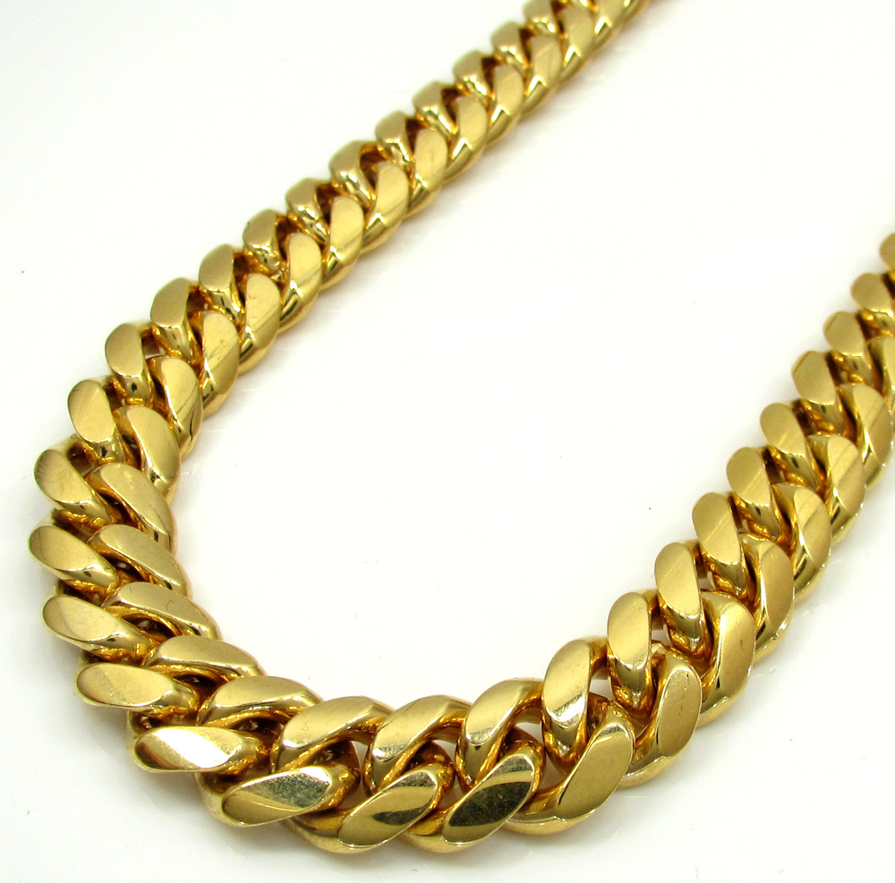 14k yellow gold solid miami link chain 20-32 inch 10.20mm