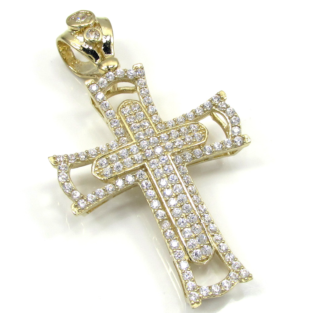 10k yellow gold small double cross 2.00ct