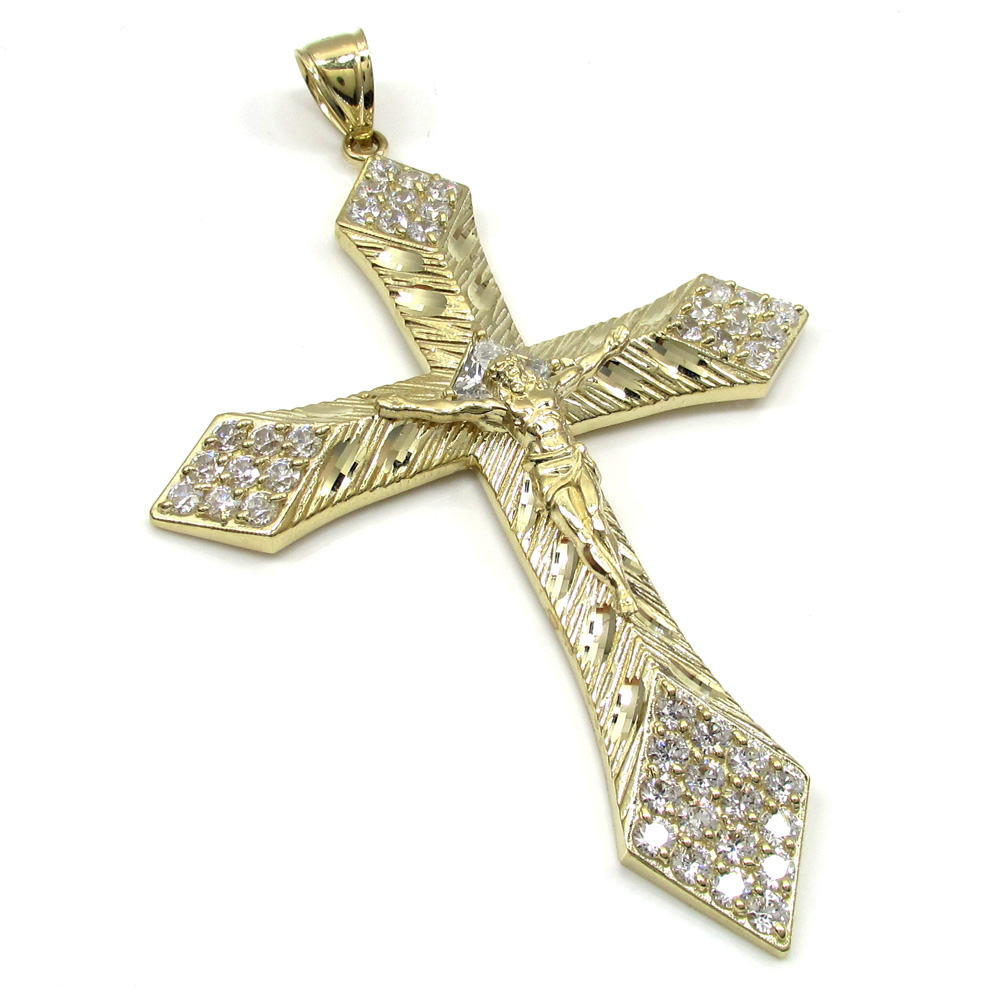 10K Yellow Gold Large Diamond Cut Jesus Cross 2.00CT