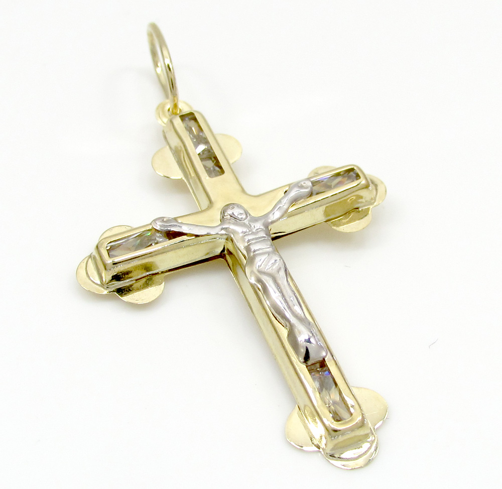 10k yellow gold small cz jesus cross 0.25ct