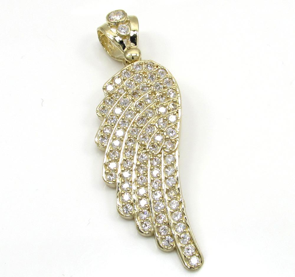 10k yellow gold medium angel wing pendant 1.00ct