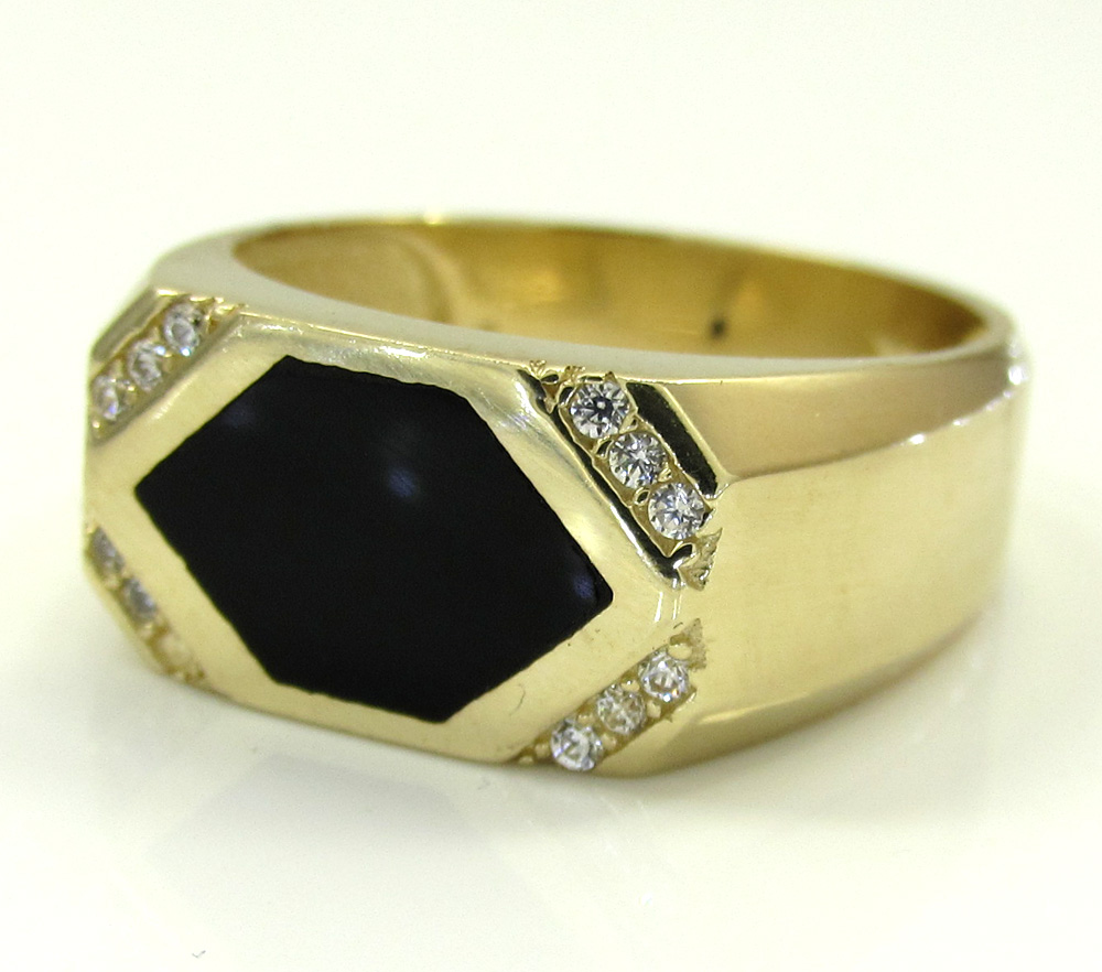 14k yellow gold cz black onyx rectangle ring 0.12ct
