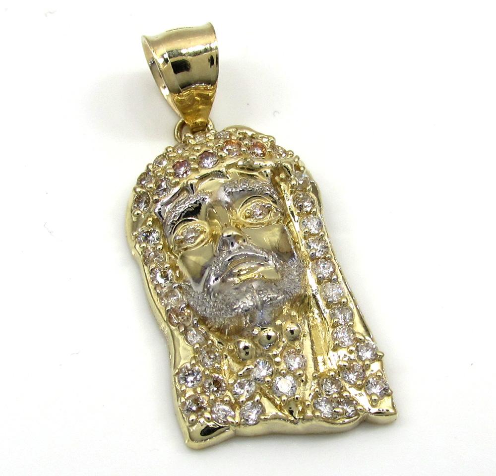 10k yellow gold jesus cz stone face mini pendant