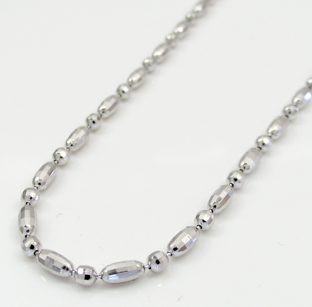 14k gold white gold diamond cut oval bead chain 16-20 inch 1.8mm