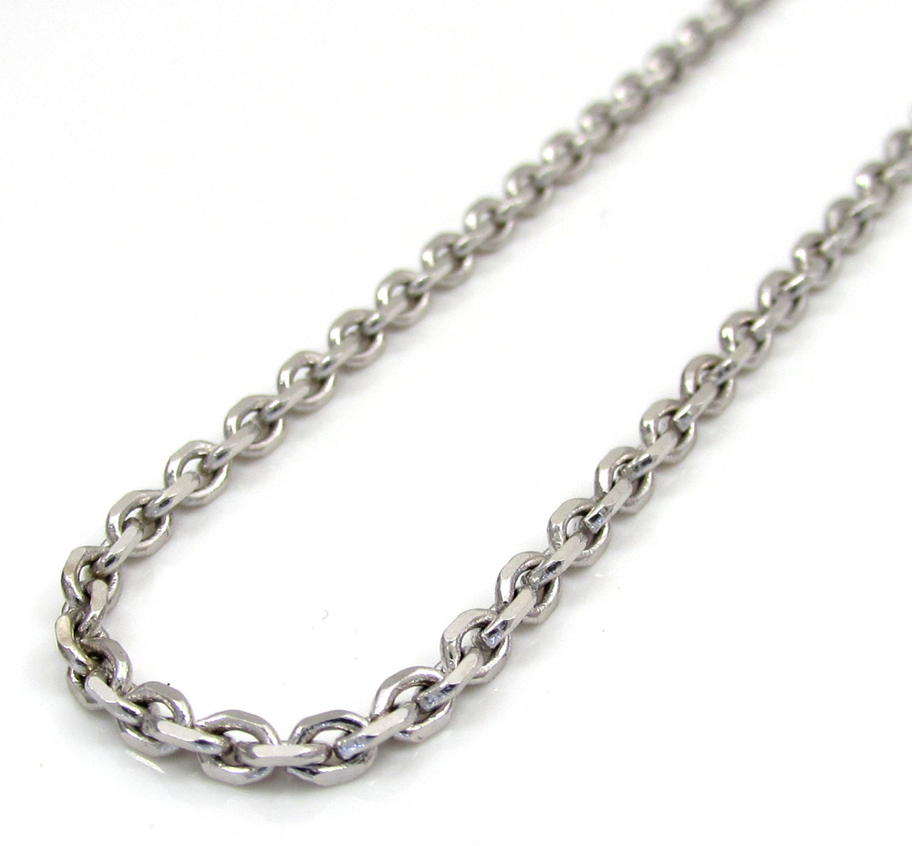 14k white gold cable diamond cut link chain 20-24 inch 2.5mm