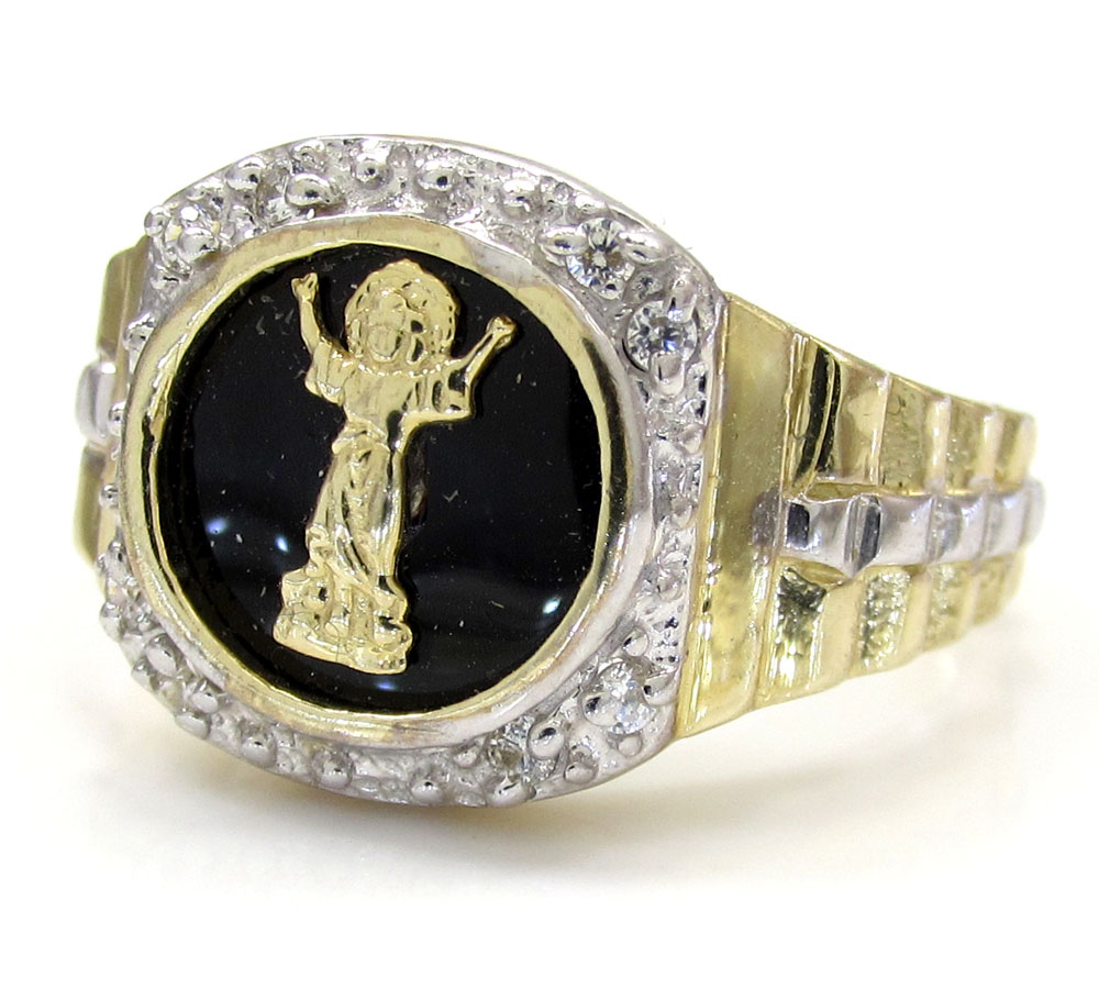 10k yellow gold cz jesus ring 0.20ct